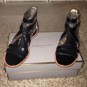 Louise et Cie Carlina black leather sandals. Sz 8